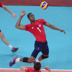 Peter Bakare olympic volleyballer in action