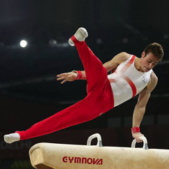 Steve Jehu on the pommel horse