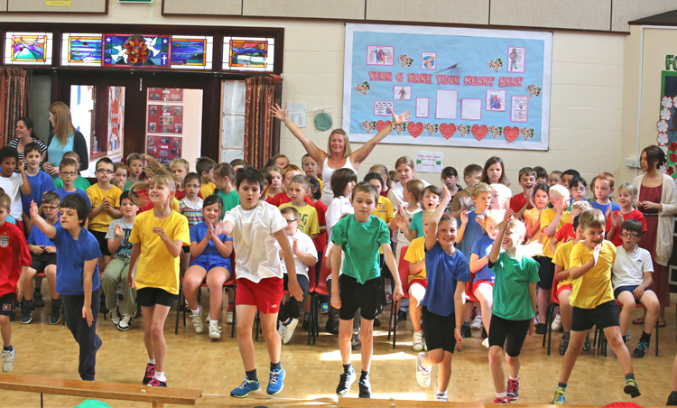 whole school active in sports hall