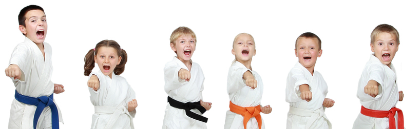 martial arts kids in a line