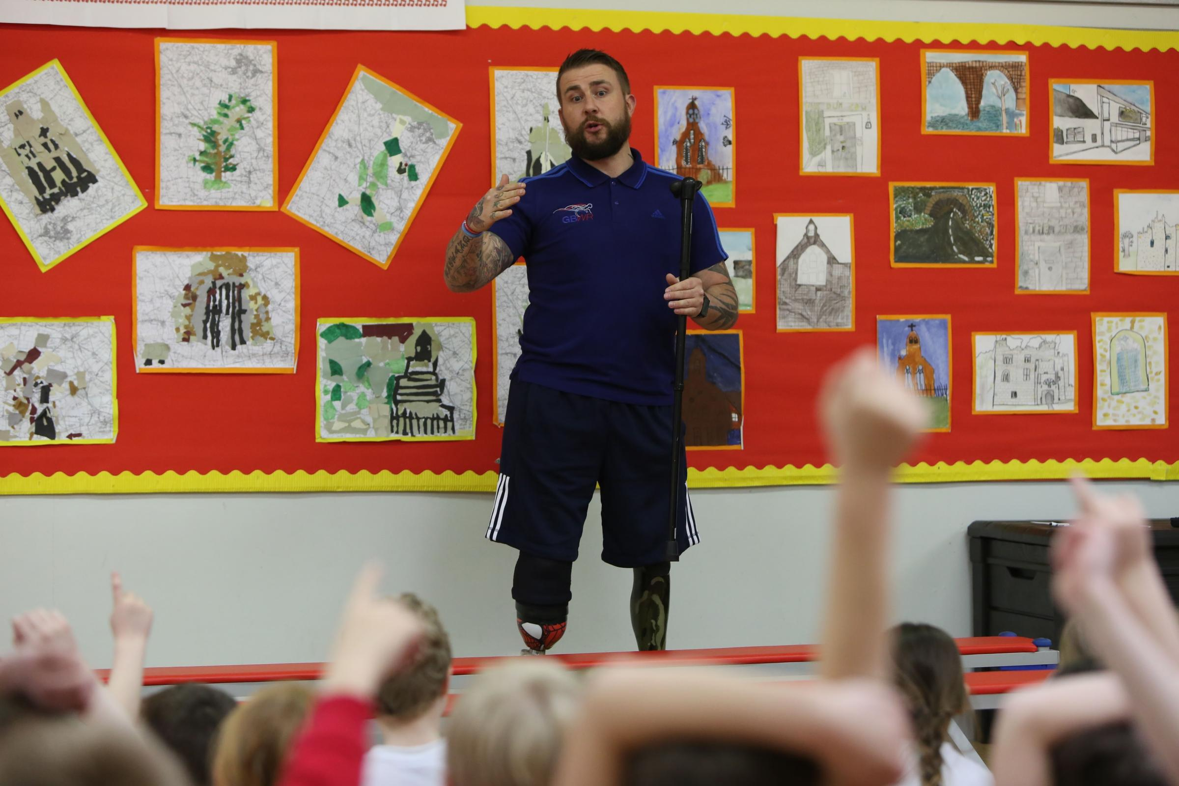 GB Wheelchair Rugby Player Stuart Robinson inspires children at Witton-le-Wear Primary School